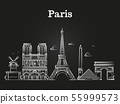 Outline french architecture, paris panorama city skyline vector 55999573