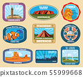 Famous monuments and national landmarks retro vector travel labels 55999668