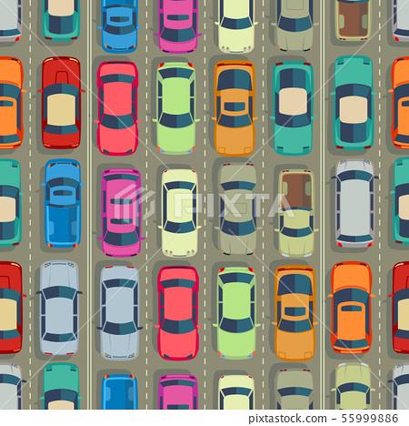 Urban cars seamless texture. Huge traffic jam 55999886
