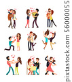 Happy young couples in love, vector valentine cartoon characters 56000055