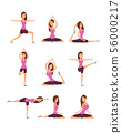 Young woman making yoga exercises and meditation. Fitness girl in training asana postures vector set 56000217