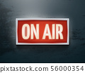 Broadcast studio on air light vector sign on wall 56000354