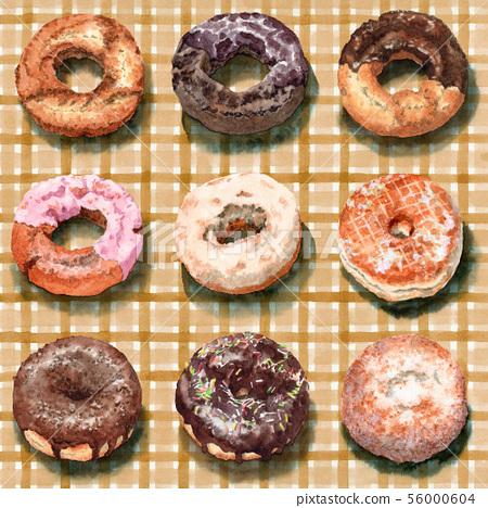 수채화로 그린 체크 천 위에 도넛 9 종류 56000604