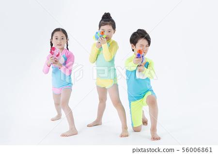 Smiling Children Concept, happy child enjoy summer time on white background 117 56006861