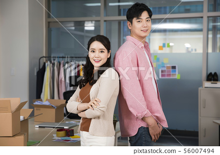 Office life concept, two asian business partners working in office 443 56007494