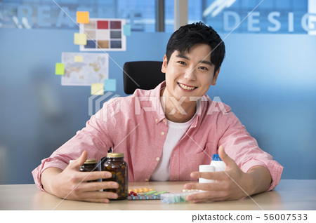 Office life concept, two asian business partners working in office 454 56007533