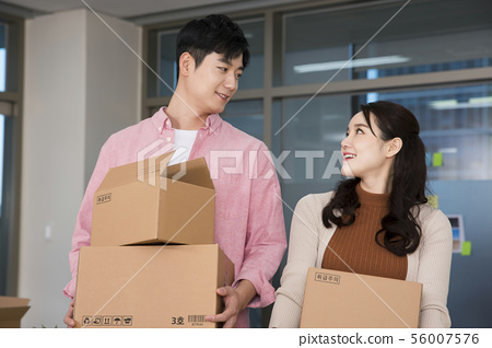 Office life concept, two asian business partners working in office 416 56007576