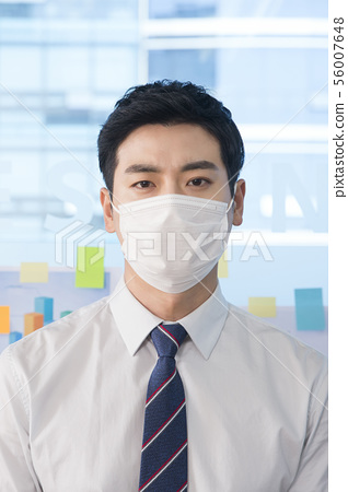 Office life concept, two asian business partners working in office 205 56007648