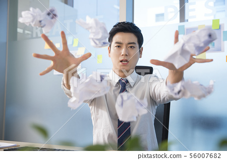 Office life concept, two asian business partners working in office 230 56007682