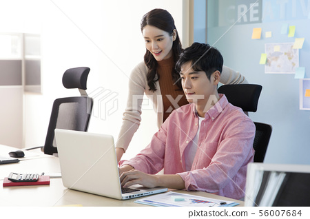 Office life concept, two asian business partners working in office 281 56007684