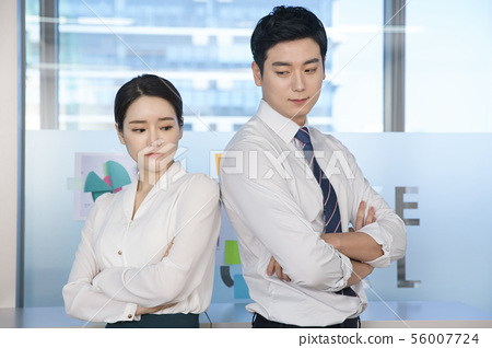 Office life concept, two asian business partners working in office 185 56007724