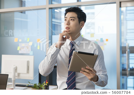 Office life concept, two asian business partners working in office 172 56007784