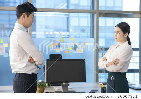 Office life concept, two asian business partners working in office 120 56007831
