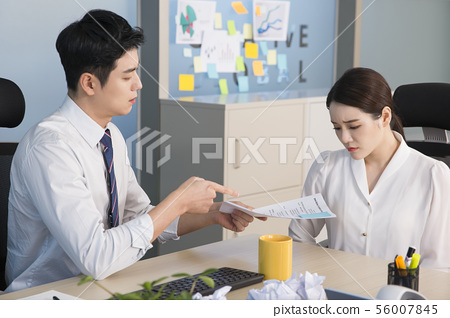 Office life concept, two asian business partners working in office 183 56007845