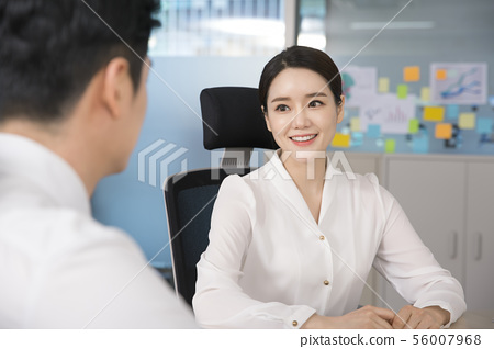 Office life concept, two asian business partners working in office 155 56007968