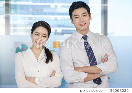 Office life concept, two asian business partners working in office 117 56008026