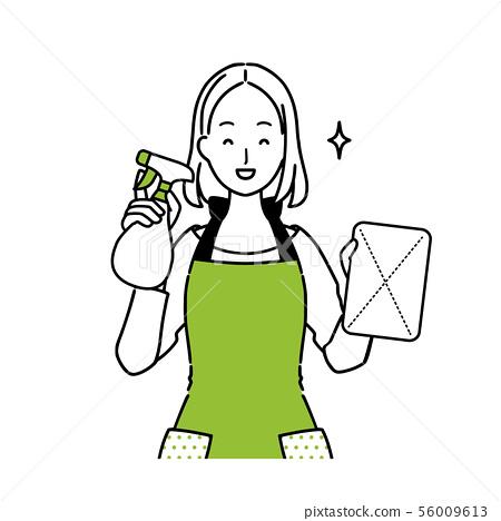 一名妇女的例证有清洁工具的 56009613