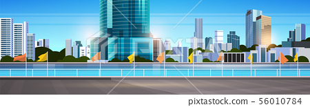 city skyline modern skyscrapers fence and river against cityscape background flat horizontal banner 56010784