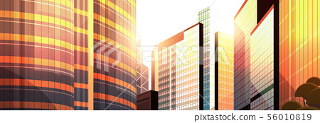 beautifil city street sunset skyline high skyscrapers modern cityscape background flat horizontal 56010819