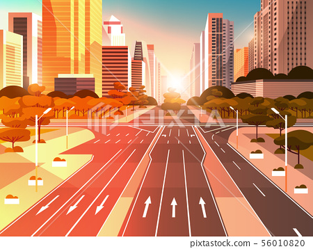 highway asphalt road with marking arrows traffic signs city skyline modern skyscrapers cityscape 56010820