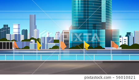 city skyline modern skyscrapers fence and river against cityscape background flat horizontal banner 56010821
