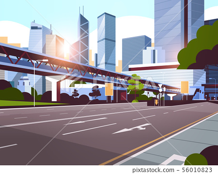 highway road to city skyline with modern skyscrapers and subway cityscape sunrise background flat 56010823