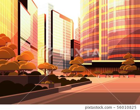 beautifil city street sunset skyline high skyscrapers modern cityscape background flat horizontal 56010825
