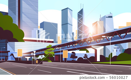 highway road to city skyline with modern skyscrapers and subway cityscape sunrise background flat 56010827