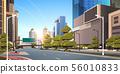 asphalt road with bike cycling lane path information banner traffic signs city skyline modern 56010833