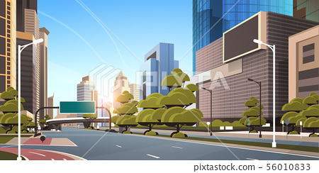 asphalt road with bike cycling lane path information banner traffic signs city skyline modern 56010833
