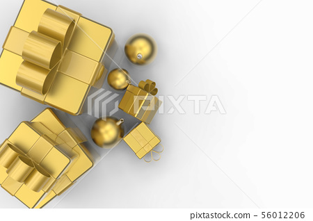 golden gift boxes and golden christmas balls 56012206