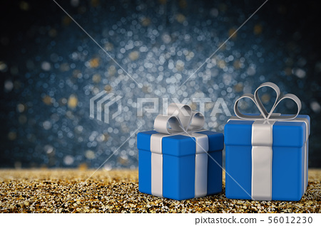 blue gift box with blank space 56012230