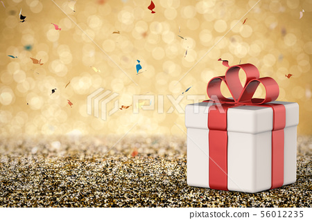 white gift box with red ribbon bow 56012235