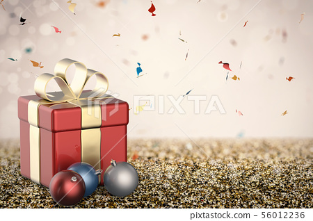 red gift box with christmas balls 56012236