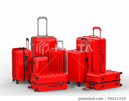 red hard case luggages on white background 56012310