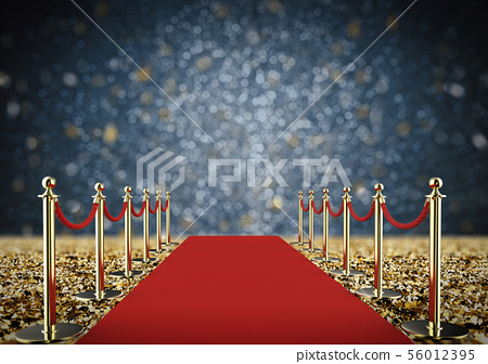 red carpet and rope barrier with shiny gold 56012395