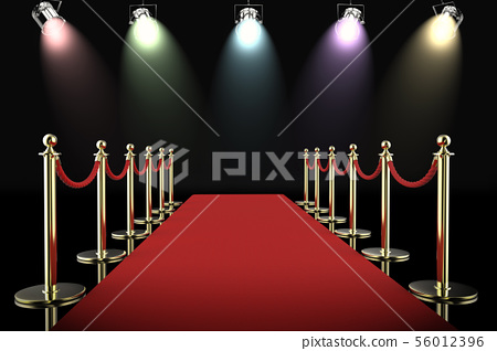 red carpet and rope barrier with shining 56012396