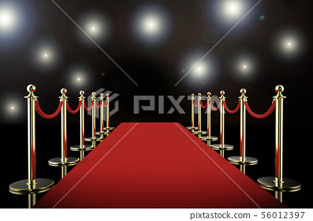 red carpet and rope barrier with shining 56012397