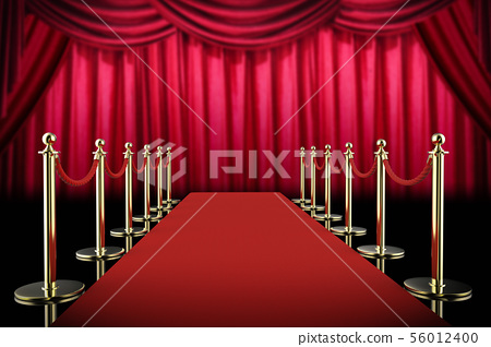 red carpet and rope barrier with red curtain 56012400