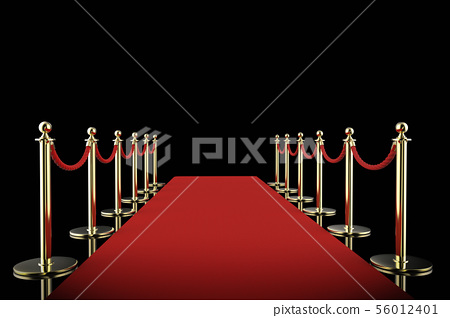 red carpet with rope barrier on black background 56012401