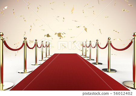 red carpet and rope barrier with shiny gold 56012402