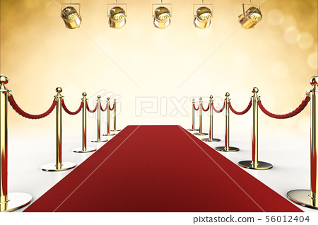 red carpet and rope barrier with shining 56012404