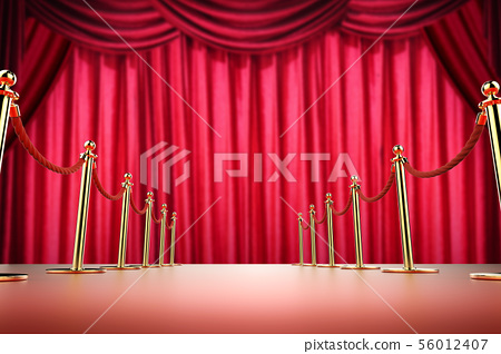 red carpet and rope barrier with red curtain 56012407