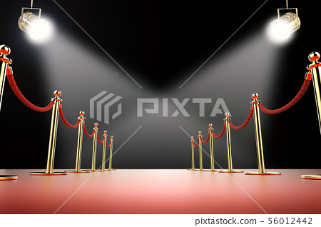 red carpet and rope barrier with shining 56012442