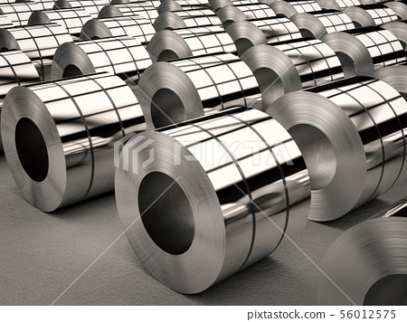 roll of steel sheets in factory 56012575