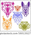 Set of polygonal head animals. Polygonal logos. Geometric set of OWL, Crocodile, Lynx, Dog, Jaguar 56013027