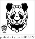 Abstract linear polygonal head of a Panda. Vector. 56013072