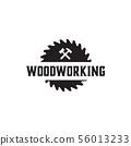 Woodworking gear logo design template vector 56013233