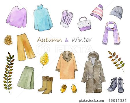 가을 겨울 패션 손으로 그린 수채화 일러스트 세트 56015385