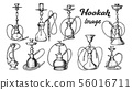 Collection of Different Hookah Set Ink Vector 56016711